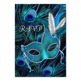 Teal Blue Peacock Mask Masquerade Party RSVP Card