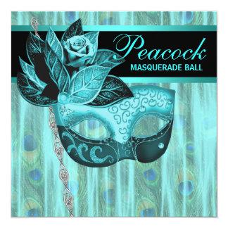 Teal Blue Peacock Masquerade Party Custom Invitations
