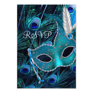 Teal Blue Peacock Masquerade Party RSVP Card