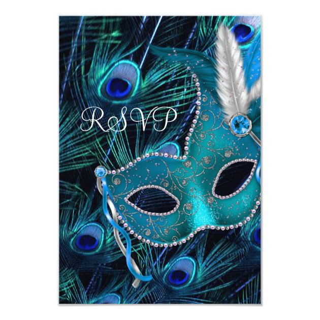 Teal Blue Peacock Masquerade Party RSVP Card | Zazzle