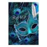 Teal Blue Peacock Masquerade Party RSVP Personalized Announcement