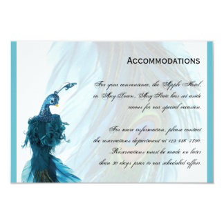 Teal Blue Peacock Plume Accomodations 3.5x5 Paper Invitation Card