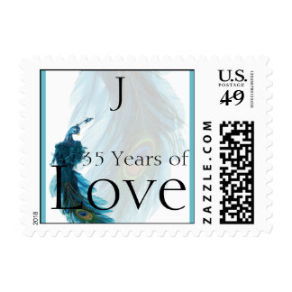 Teal Blue Peacock Plume Anniversary Love Stamp