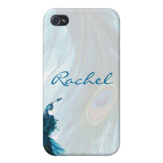 Teal Blue Peacock Plume iPhone4 Cover Case For iPhone 4