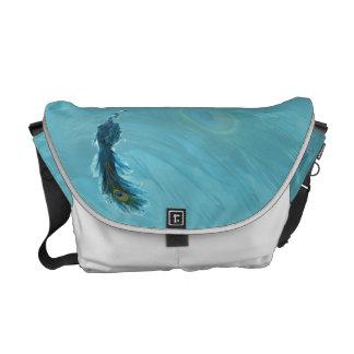 Teal Blue Peacock Plume Messenger Bag