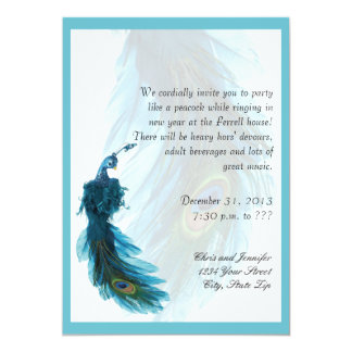 Teal Blue Peacock Plume New Years Eve 5x7 Paper Invitation Card
