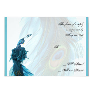 "Teal Blue Peacock Plume Response Card 3.5"" X 5"" Invitation Card"