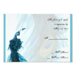 Teal Blue Peacock Plume Response Card Invites