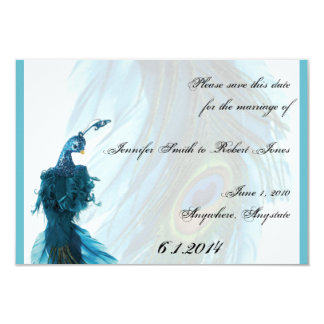Teal Blue Peacock Plume Save the Date 3.5x5 Paper Invitation Card