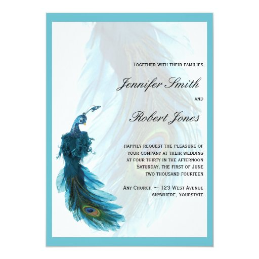 Teal blue peacock plume wedding invitation zazzle
