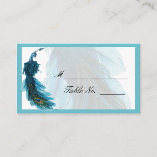 Teal Blue Peacock Plume Wedding Place Card