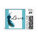 Teal Blue Peacock Plume Wedding Postage