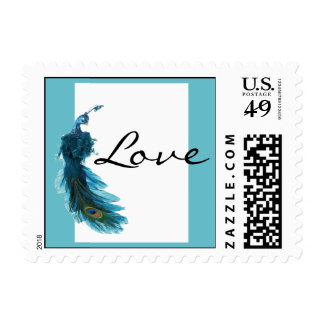 Teal Blue Peacock Plume Wedding Postage