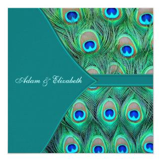 Teal Blue Peacock Wedding Card