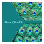 Teal Blue Peacock Wedding Custom Invites