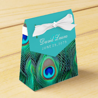Teal Blue Peacock Wedding Favor Box
