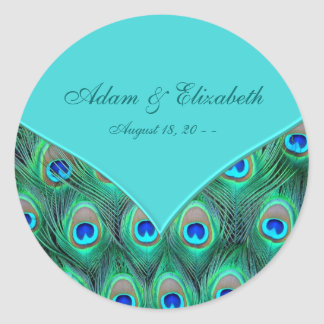 Teal Blue Peacock Wedding Favor Label Classic Round Sticker