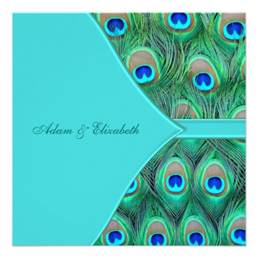 Teal Blue Peacock Wedding Personalized Invites