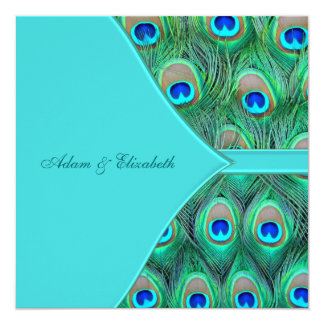 "Teal Blue Peacock Wedding 5.25"" Square Invitation Card"