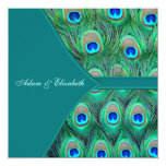 Teal Blue Peacock Wedding 5.25x5.25 Square Paper Invitation Card
