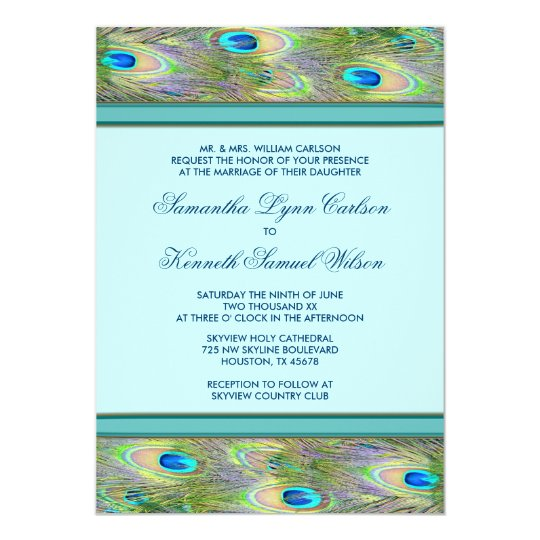 Teal Blue Peacock Wedding Invitations