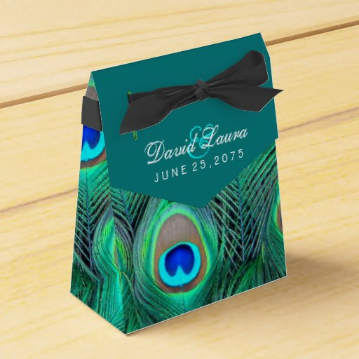 Teal blue peacock wedding party favor boxes zazzle