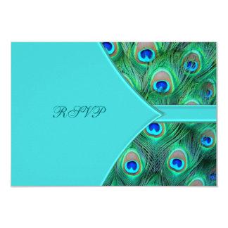 Teal Blue Peacock Wedding RSVP Card