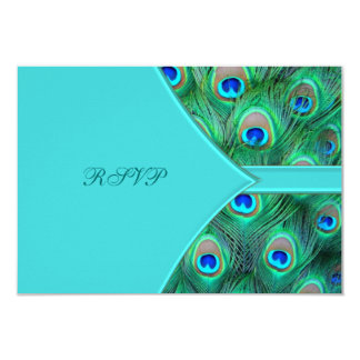 Teal Blue Peacock Wedding RSVP 3.5x5 Paper Invitation Card