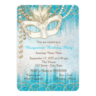 Teal Blue Pearl Masquerade Party Card