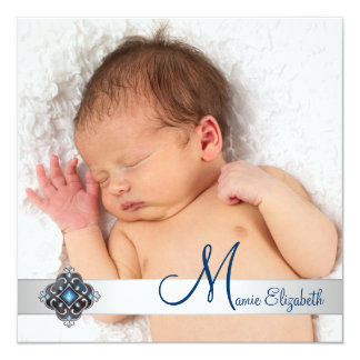 Teal Blue Photo Christian Birth Announcements