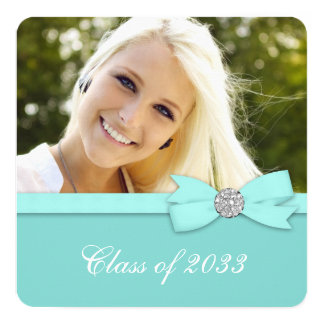 Teal Blue Photo Graduation Announcements
