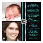 Teal Blue Photo Quinceanera Custom Invitation Cards
