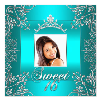 Teal Blue Photo Sweet 16 Sixteen 16th Birthday 5.25x5.25 Square Paper Invitation Card