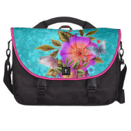 Teal Blue Pink Butterfly Floral Flowers Computer Bag