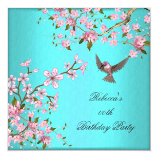 Teal Blue Pink Cherry Blossom Birthday Party Card