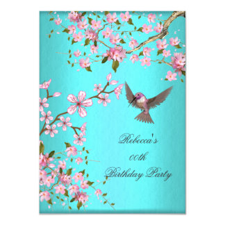 Teal Blue Pink Cherry Blossom Birthday Party 4.5x6.25 Paper Invitation Card