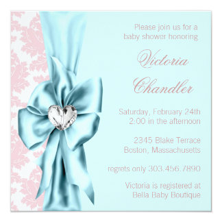 Teal Blue Pink Damask Bow Elegant Baby Girl Shower Card