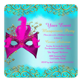 Teal Blue Pink Gold Mask Masquerade Birthday Party Card