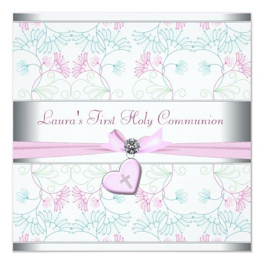 Teal Blue Pink Heart White Pink Cross First Commun Card
