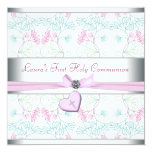 Teal Blue Pink Heart White Pink Cross First Commun Personalized Invites