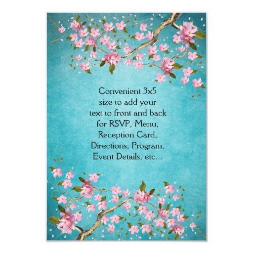 Teal Blue Pink Japanese Cherry Blossoms Wedding 3.5x5 Paper Invitation Card