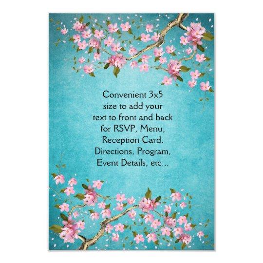 Teal Blue Pink Japanese Cherry Blossoms Wedding Invitation Zazzle Com