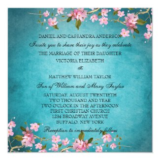 Teal and Pink Cherry Blossoms Wedding invite