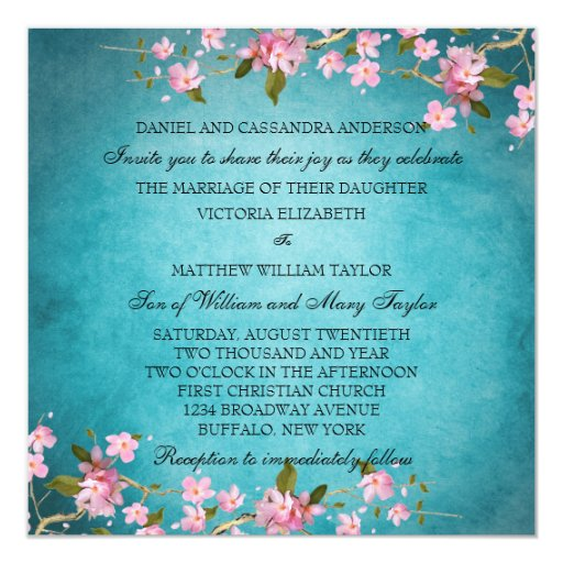 Teal Blue Pink Japanese Cherry Blossoms Wedding Personalized Announcements