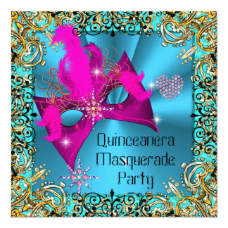 Teal Blue Pink Masquerade Quinceanera Birthday Card