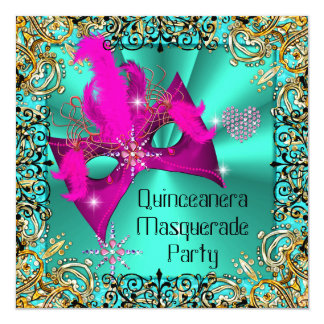 Teal Blue Pink Masquerade Quinceanera Party Mask Card