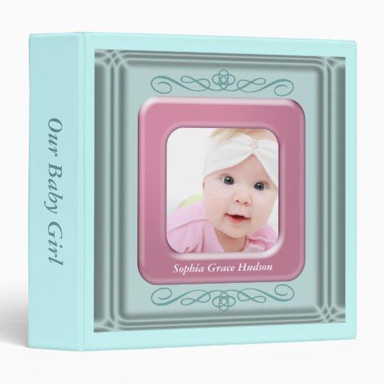 Teal Blue Pink Photo Frame Baby Girl Photo Album 3 Ring Binder