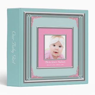 Teal Blue & Pink Photo Frame Baby Girl Photo Album 3 Ring Binders