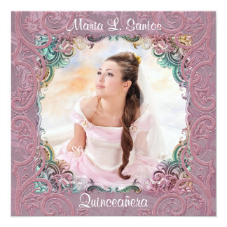 Teal Blue Pink Picture Quinceanera 5.25x5.25 Square Paper Invitation Card
