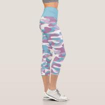 Teal Blue Pink Purple White Camouflage Pattern Capri Leggings